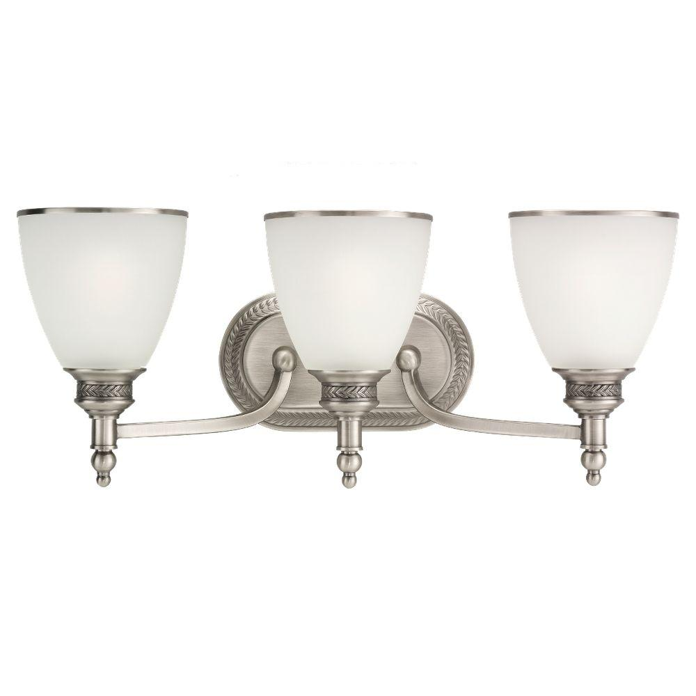 3 Light Vanity Brushed Nickel : Sea Gull Lighting Laurel Leaf 3-Light Antique Brushed Nickel Vanity Light-44351-965 - The Home Depot