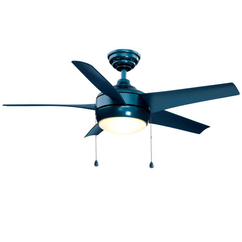 Hampton Bay Windward 44 in. Indoor Blue Ceiling Fan with Light Kit