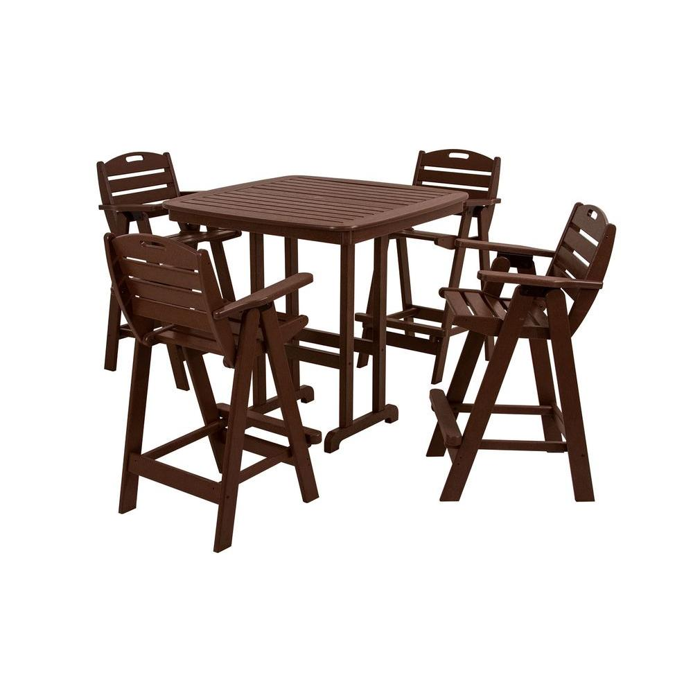 Nautical Mahogany 5-Piece Plastic Outdoor Patio Bar Set