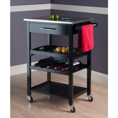 Anthony Black Kitchen Cart with Stainless Top