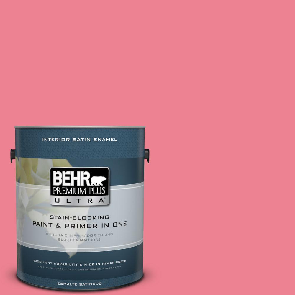 Behr Premium Plus Ultra 1 Gal 130b 5 Bridesmaid Satin Enamel Interior Paint And Primer In One
