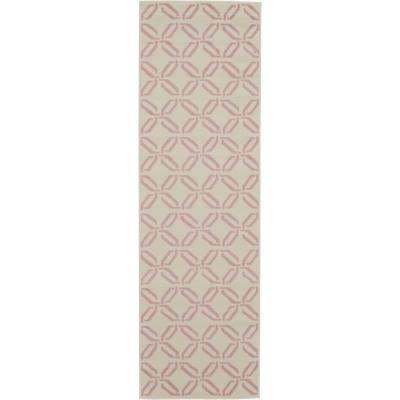 Jubilant JUB17 White and Pink 2 ft. x 7 ft. Low-Pile Hallway Runner Rug