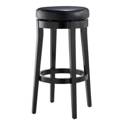 30 in. Black Cushioned Swivel Bar Stool in Black