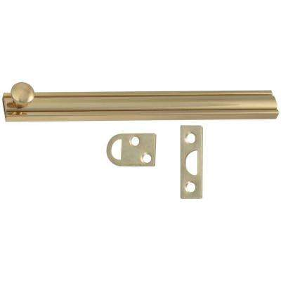 6 in. Solid Brass Surface Bolt in Bright Brass