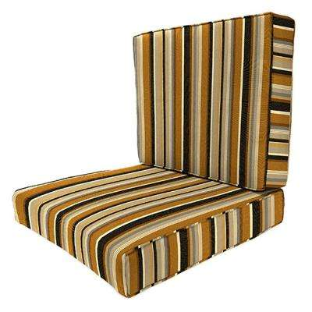 Sunbrella Espresso Stripe Outdoor Lounge Chair Cushion