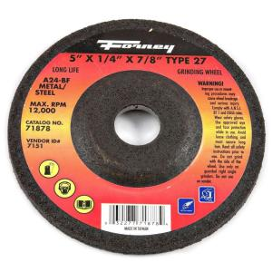 Forney 5 inch x 1/4 inch x 7/8 inch Metal Type 27 A24R-BF Grinding Wheel by Forney