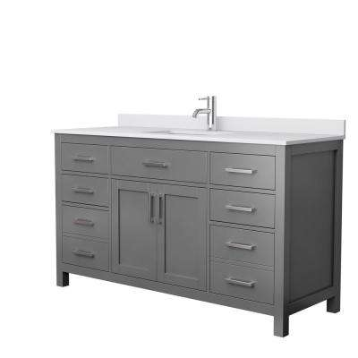 Beckett 60 in. W x 22 in. D Single Bath Vanity in Dark Gray with Cultured Marble Vanity Top in White with White Basin