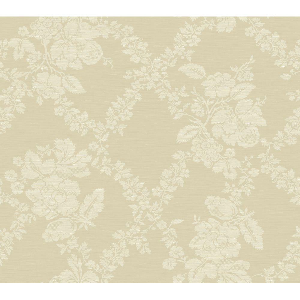 Fruit Leaf Floral Jacquard Wallpaper