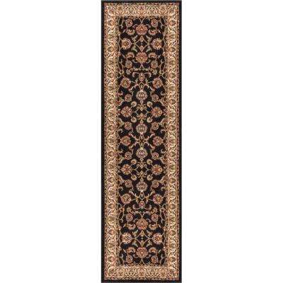 Barclay Sarouk Black 3 ft. x 10 ft. Traditional Floral Runner Rug