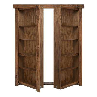 60 in. x 80 in. Flush Mount Assembled Walnut Natural Stained Out-Swing Solid Core Interior French Bookcase Door