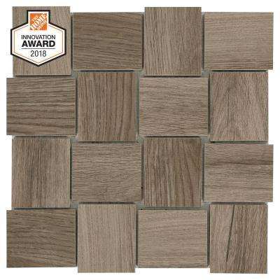 Sierra Wood Modern Weave 12 in. x 12 in. x 8mm Glazed Porcelain Mosaic Tile