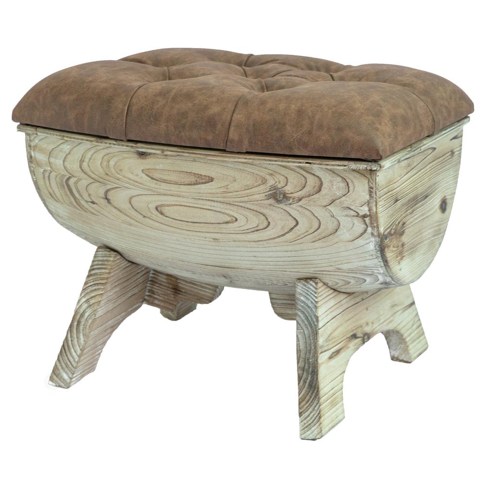 Vintiquewise Vintage Wooden Wine Barrel Storage Bench With Leather Tufted Top