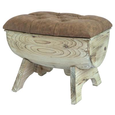 Vintage Wooden Wine Barrel Storage Bench with Leather Tufted Top