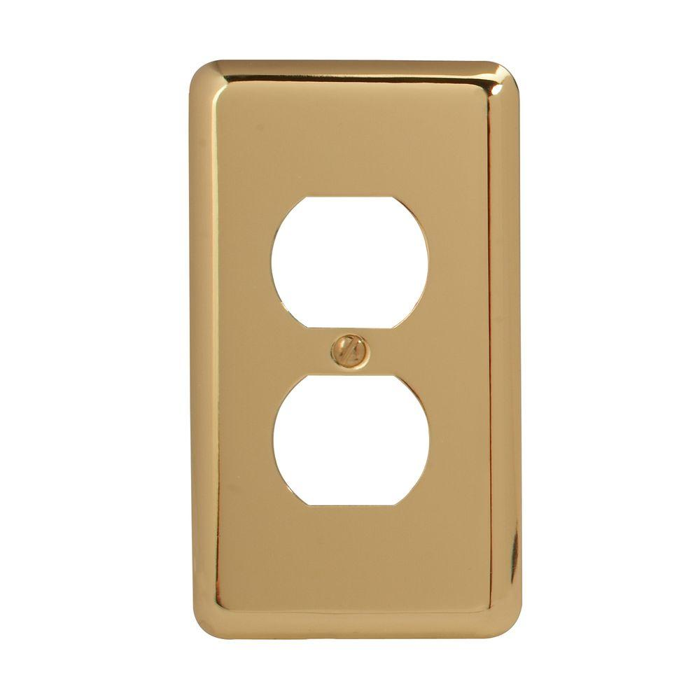 Amerelle Steel 1 Duplex Wall Plate Bright Brass 155D