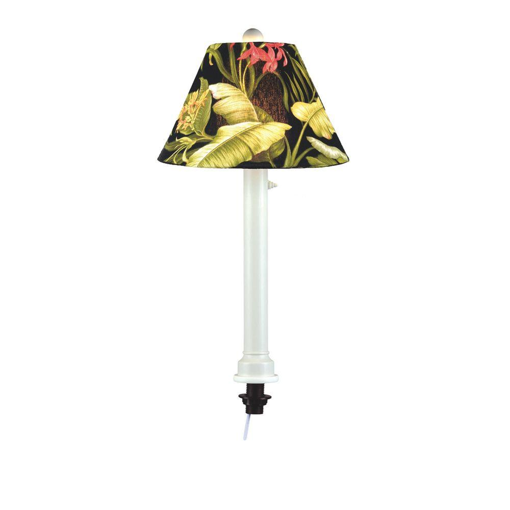 Patio Living Concepts Catalina White Umbrella Table Outdoor Lamp with Ebony Shade Small-DISCONTINUED