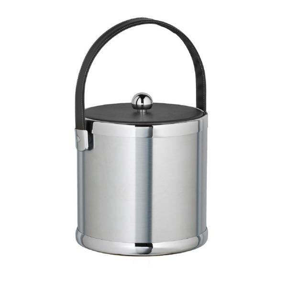 Kraftware Americano 3 Qt. Brushed Chrome Ice Bucket with Black Leatherette