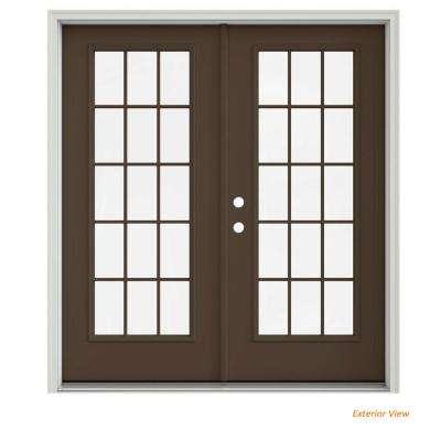 72 in. x 80 in. Dark Chocolate Painted Steel Right-Hand Inswing 15 Lite Glass Stationary/Active Patio Door