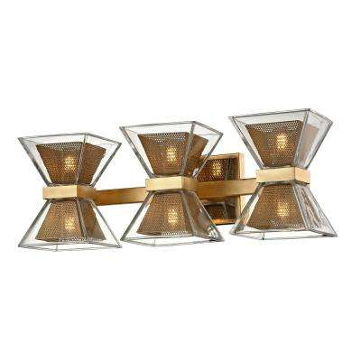 Expression 6-Light Gold Leaf 20 in. W LED Bath Light with Clear Glass Shade