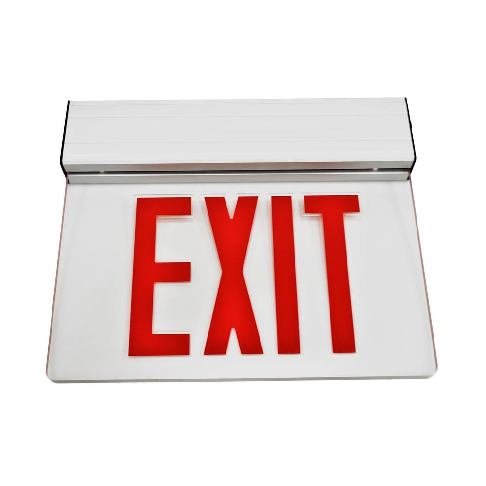 NICOR LED EXL2 Series 3.6-Volt Clear Integrated LED Emergency Exit Sign with Red Lettering