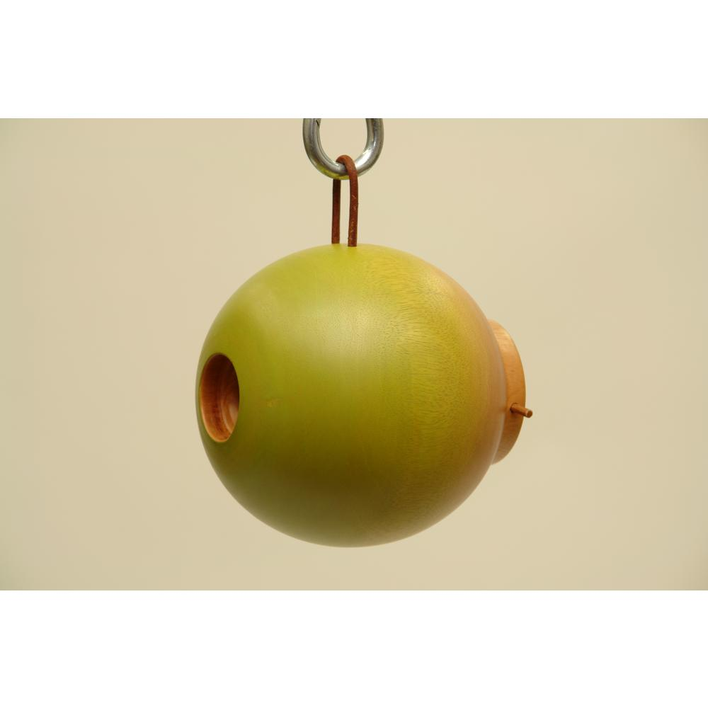 8 in. Green Mango Wood Globe Bird House