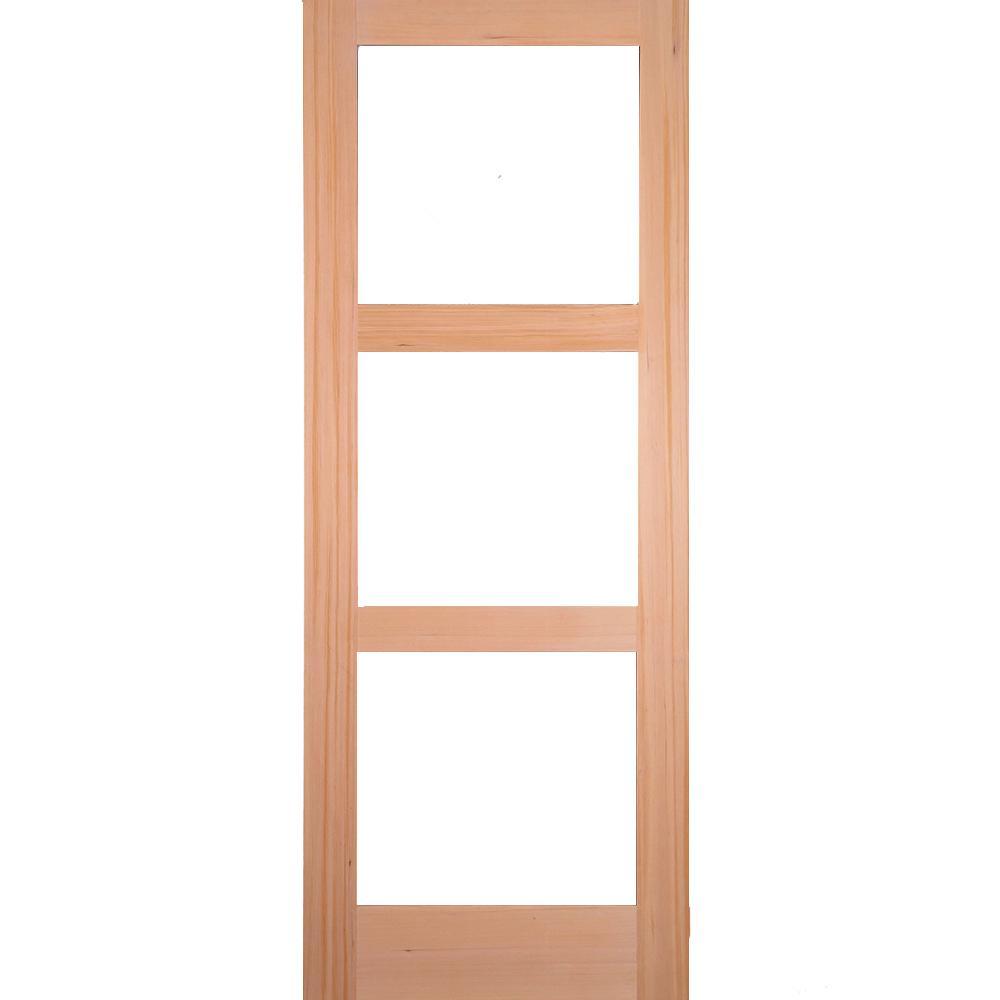 buy popular 94899 5452e 42 in. x 96 in. Rustic Hemlock 3-Lite Clear Glass Unfinished Wood Front  Door Slab