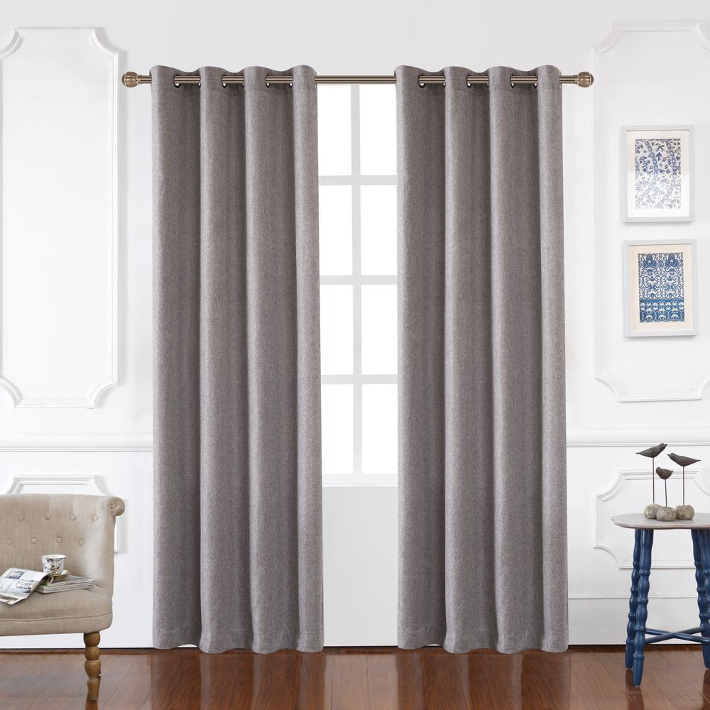Lyndale Decor Odyssey 126 in. L x 52 in. W Blackout Polyester Curtain in Graphite
