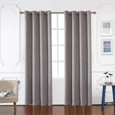 Odyssey Blackout Polyester Curtain in Graphite - 84 in. L x 52 in. W