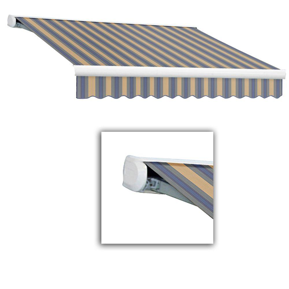 AWNTECH 14 ft. Key West Full-Cassette Manual Retractable Awning (120 in. Projection) in Dusty Blue/Tan Multi