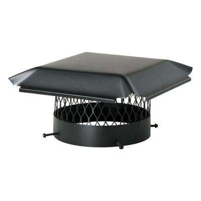 14 in. Round California Oregon Bolt-On Single Flue Chimney Cap in Black Galvanized Steel