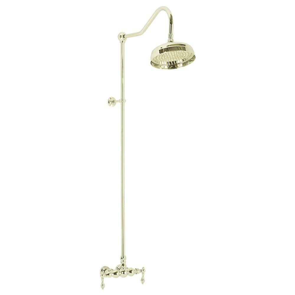 Elizabethan Classics Wall-Mount Exposed 2-Handle Shower Faucet in Polished Brass