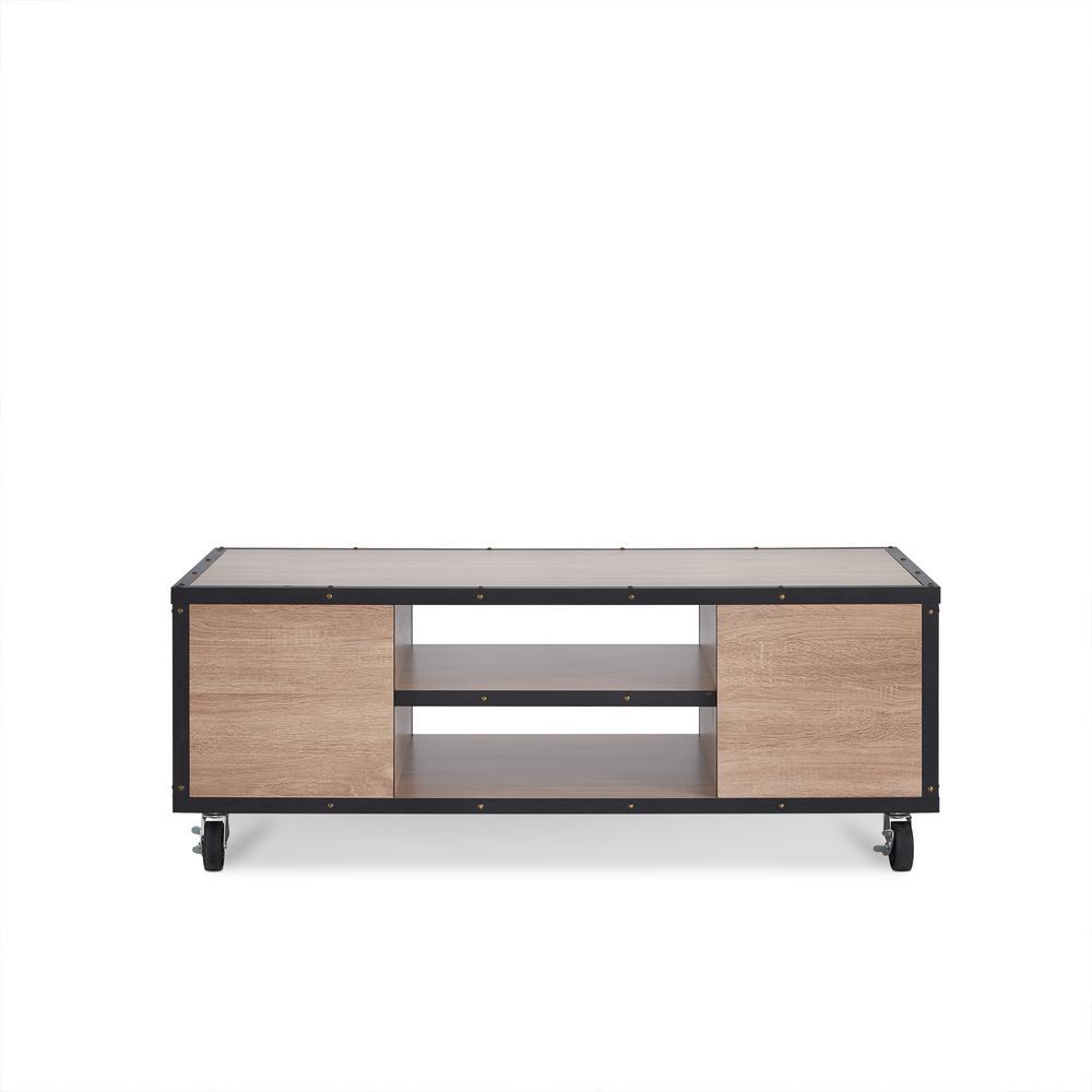 Bemis Weathered Light Oak Mobile Storage Coffee Table