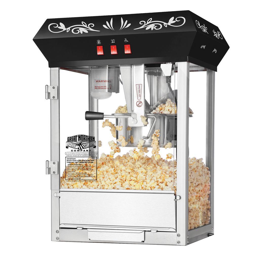 Great Northern All-Star 8 oz. Black Stainless Steel Popcorn Machine HWD630268
