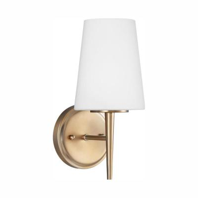 Driscoll 1-Light Satin Brass Sconce with LED Bulb