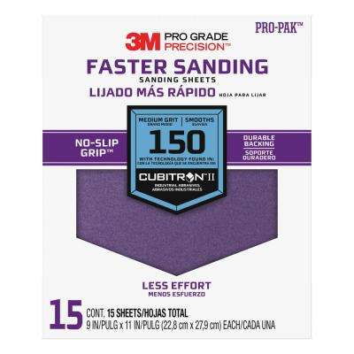 Pro Grade Precision 9 in. x 11 in. 150 Grit Medium Advanced Sanding Sheets (15-Pack) (Case of 5)