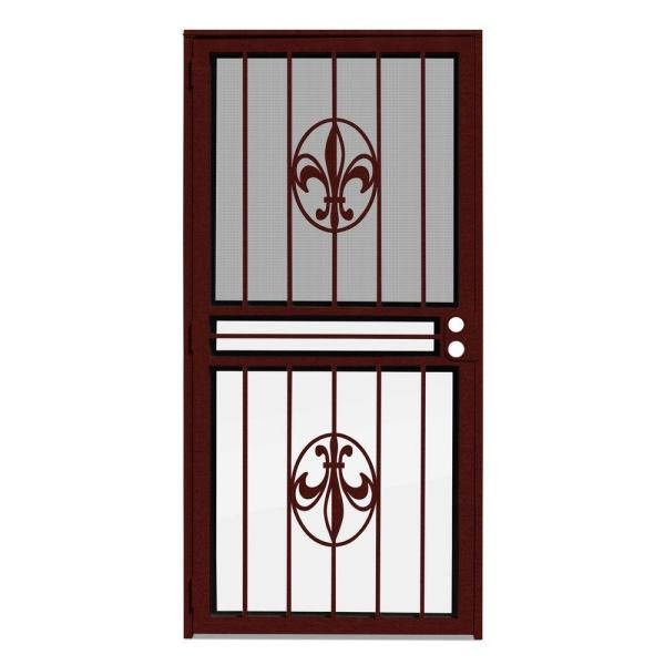 36 in. x 80 in. Fleur de Lis Wineberry Recessed Mount All Season Security Door with Insect Screen and Glass Inserts