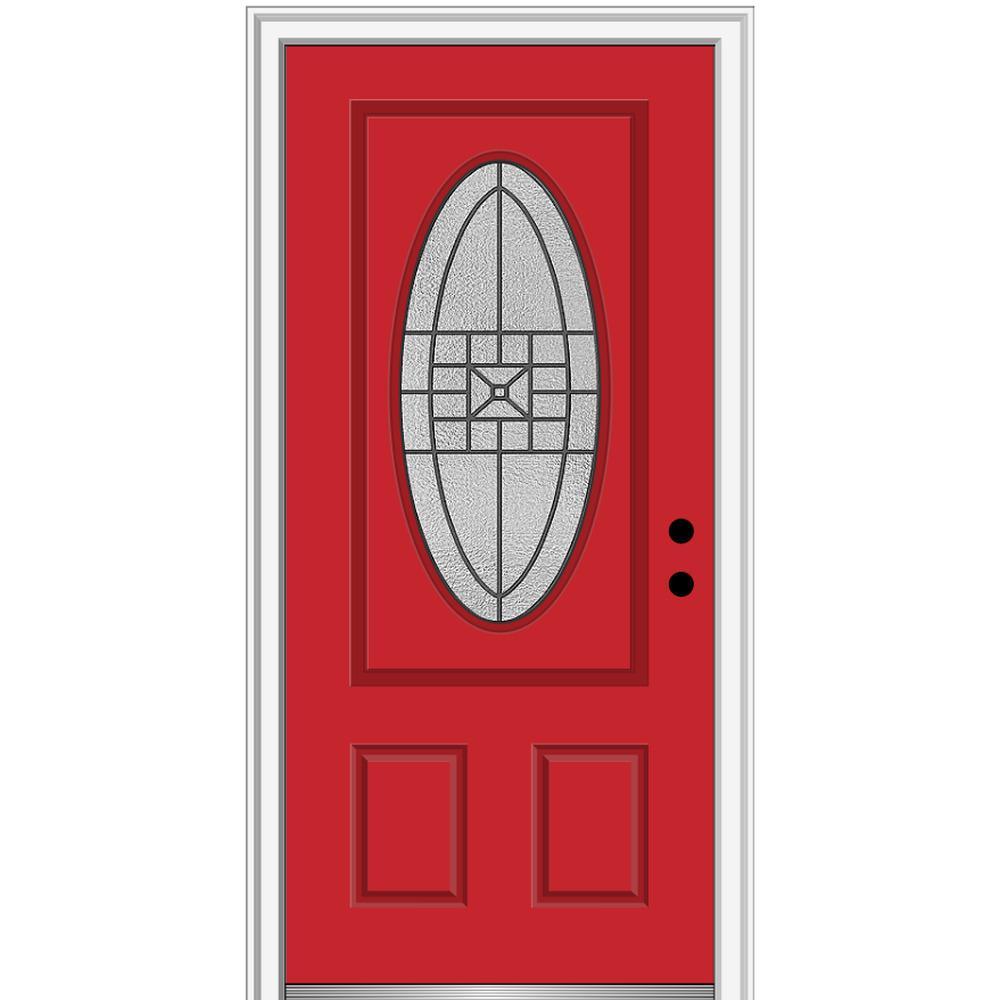 MMI Door 36 in. x 80 in. Courtyard Left-Hand Oval-Lite Decorative Painted Fiberglass Smooth Prehung Front Door, 6-9/16 in. Frame