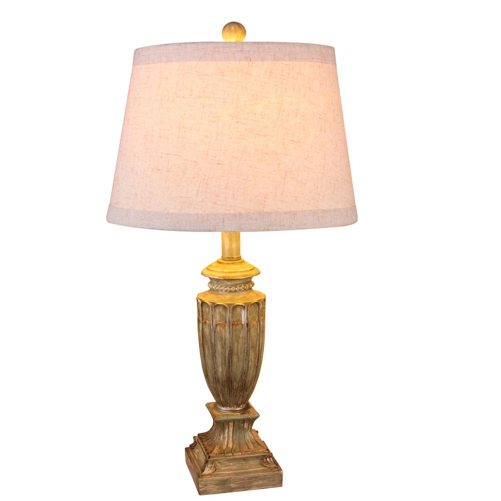 Fangio Lighting 26 in. Antique Beige Resin Table Lamp