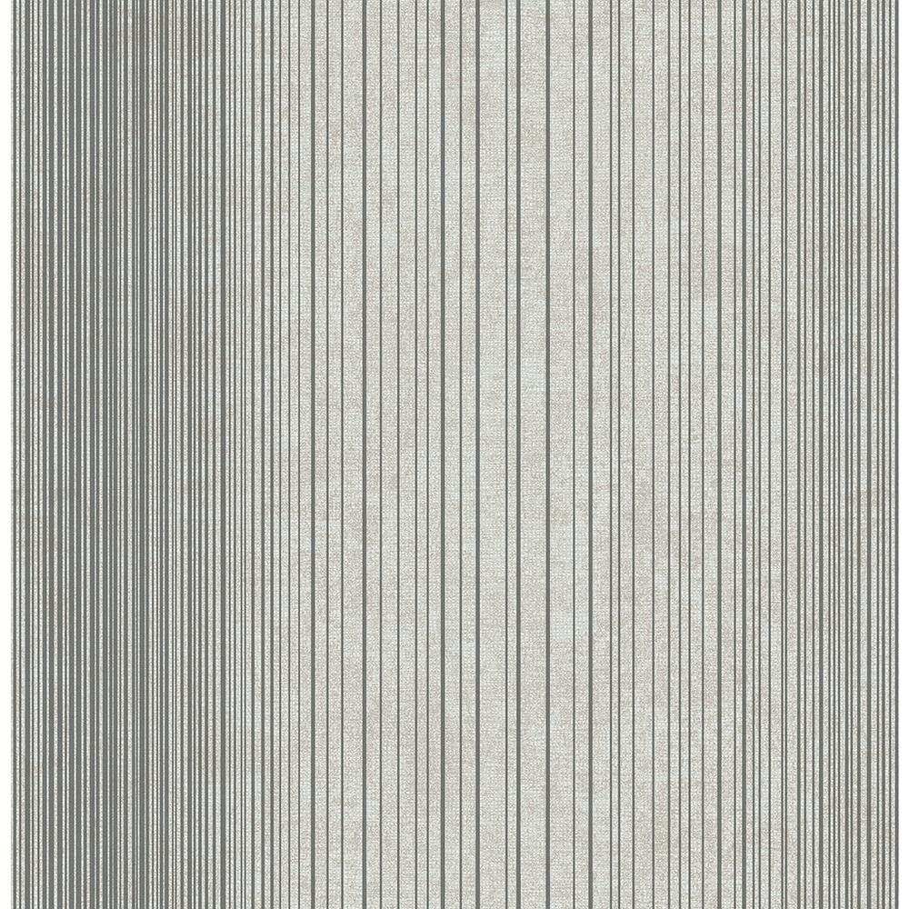 Brewster Insight Charcoal Stripe Wallpaper Sample