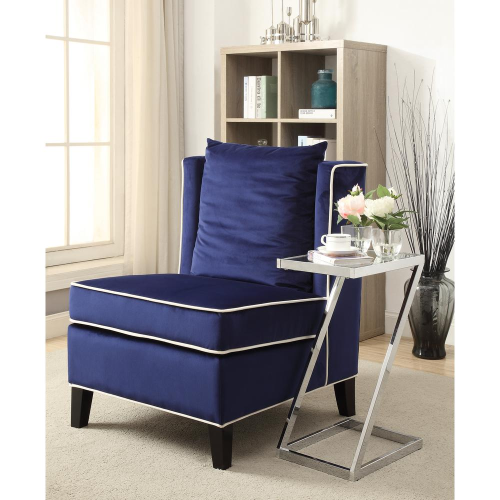 Acme Furniture Ozella Accent Chair In Dark Blue 59574 The Home Depot