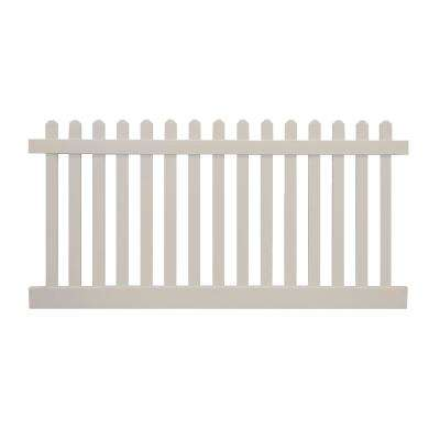 Plymouth 3 ft. H x 8 ft. W Tan Vinyl Picket Fence Panel Kit