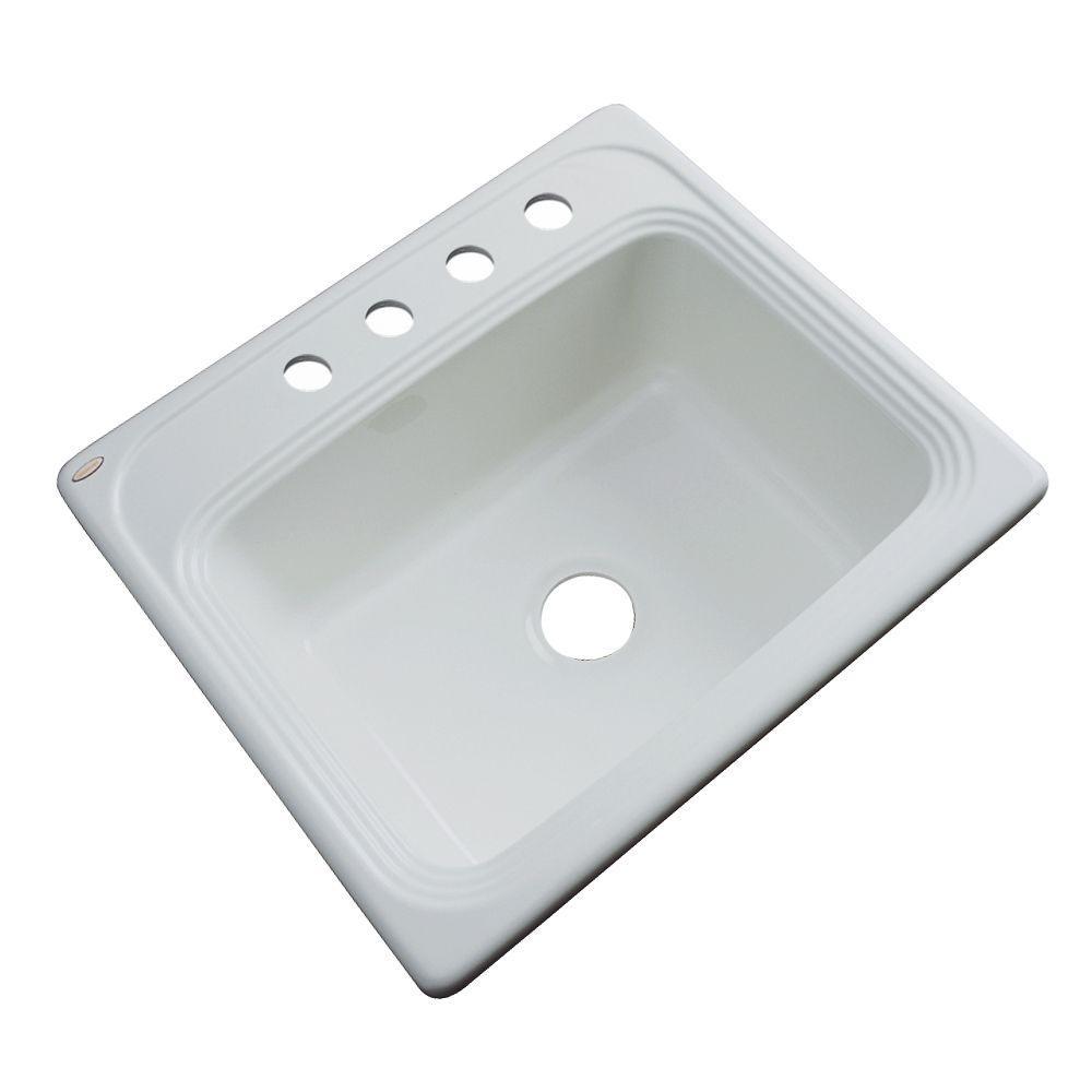 Wellington Drop-in Acrylic 25x22x9 in. 4-Hole Single Bowl Kitchen Sink in Sterling Silver