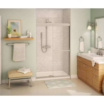 Aura SC 48 in. x 71 in. Semi-Frameless Sliding Shower Door in Brushed Nickel
