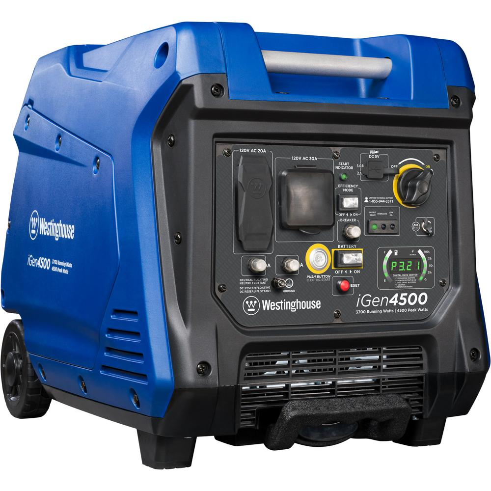 Westinghouse 4,500/3,700-Watt Super Quiet Gas Powered Inverter Generator  with LED Display, Push Button Start and Remote Start