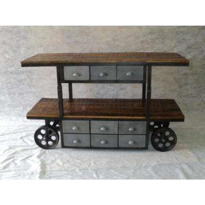 Weathered Brown Mobile Table with Metal Storage Drawers