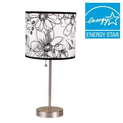 19 in. H Floral Print Steel Table Lamp