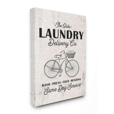 """30 in. x 40 in. """"Washed Texture Laundry Delivery Co Same Day Service Bike"""" by Lettered and Lined Canvas Wall Art"""
