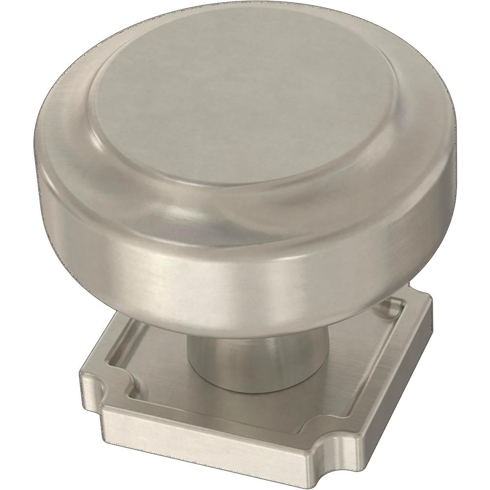 Liberty Liberty Notched Backplate 1-1/4 in. (32 mm) Satin Nickel Cabinet Knob