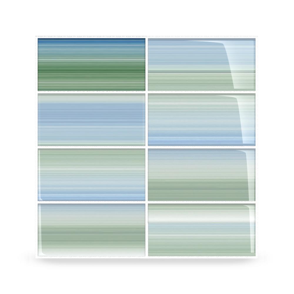 - Bodesi Tidal Glass Tile For Kitchen Backsplash And Showers - 3 In