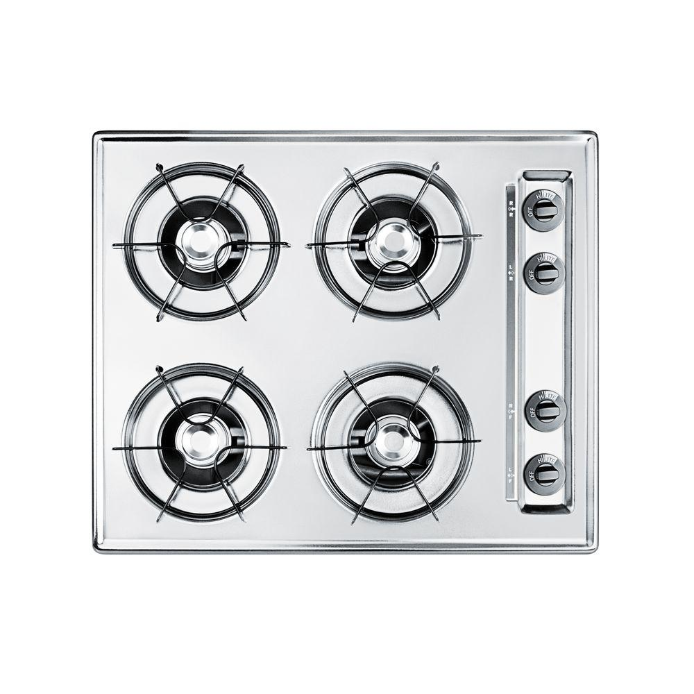 Summit 24 in. Gas Cooktop in Chrome with 4 Burners, Brush...