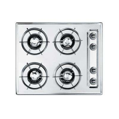 24 in. Gas Cooktop in Chrome with 4 Burners